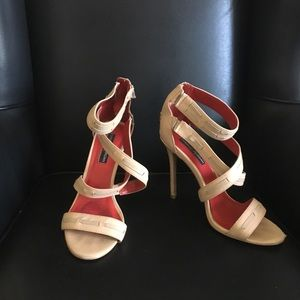 Charles Jourdan Strappy Tan Heels